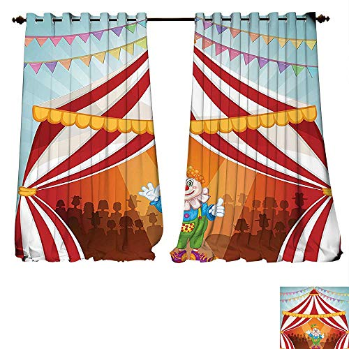 fengruiyanjing-Home Window Curtain Fabric Cartoon Clown in Circus Tent Cheerful Costume Funny Entertainer Joyful Design Red Blue Yellow Green Drapes for Living Room (W107 x L96 -Inch 2 Panels) ()