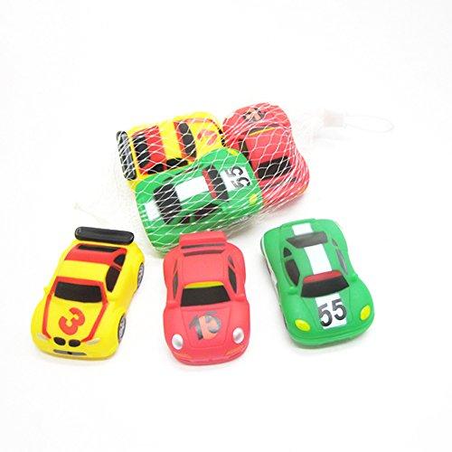 3 Piece Bath Toy - MyLifeUNIT Rubber Race Car 3 Piece Squeeze Bath Tub Toys Set