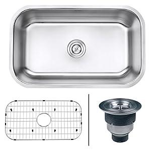Ruvati RVM4250 Undermount 16 Gauge 30 Kitchen Single Bowl Sink