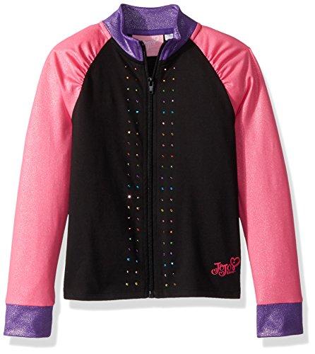 Danskin Girls Jacket (Jojo Siwa By Danskin Big Girls' Iridescent Sparkle Jacket, Black Combo, MD)