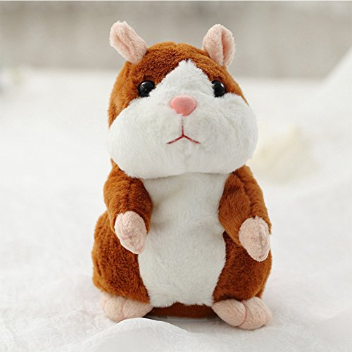 Lanlan Lovely Talking Plush Hamster Toy Can Change Voice Record Sounds Nod Head or Walk Early Education for Baby bright brown and nodding; height:15cm