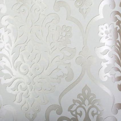 astek mood living nino silver and white damask