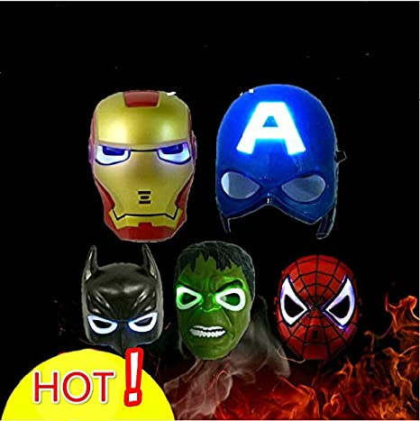 WSJDE - Juego de 5 máscaras de superhéroe con Luces LED ...