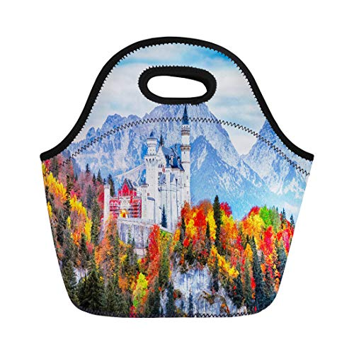 (Semtomn Lunch Tote Bag Neuschwanstein Medieval Castle in Germany Bavaria Land Beautiful Autumn Reusable Neoprene Insulated Thermal Outdoor Picnic Lunchbox for Men)