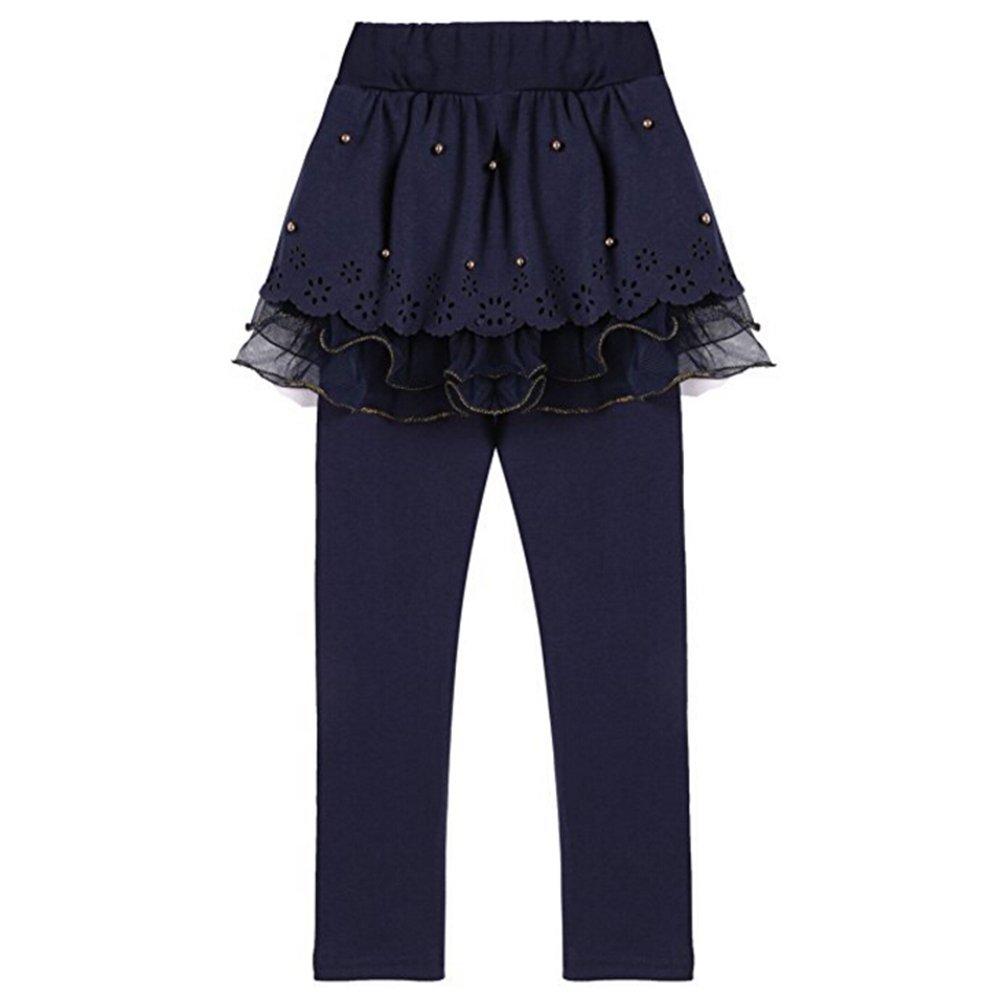 Mxssi Leggings Ragazze con Gonna Pantaloni Bambini Legging Lungo Pantaloni Danza Primavera Autunno Inverno per 2-13 Anni caff/è Marina Militare Blu Rosa Rosso