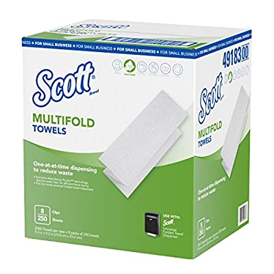 "Scott Multi-fold Paper Towels for Small Business (49183), 9.2"" x 9.4"", 8 Clips per Case: Industrial & Scientific"