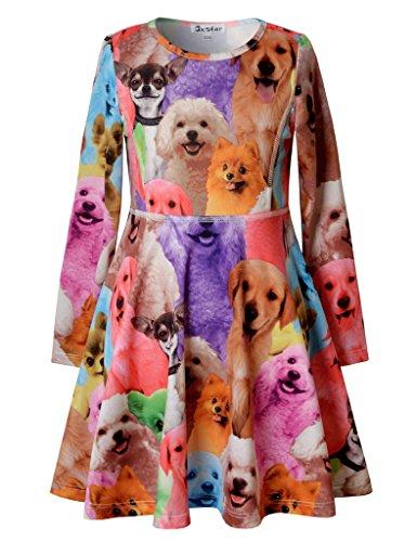 Jxstar Kids Girls' Casual Dog Printed Clothing Skater Long Sleeve Dress Dog 150 (Animal Dress For Kids)