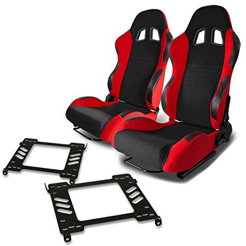 Pair of RST7BKRD Racing Seats+Mounting Bracket for Acura Integra DB