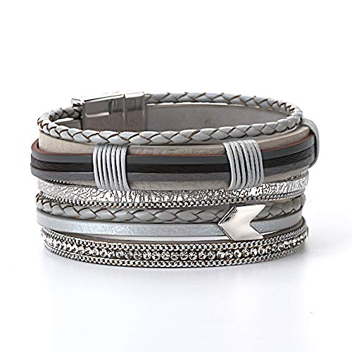 AZORA Gray Leather Cuff Bracelet for Women Multilaye Mix Braided Strands Wrap Bangle with Magnetic Clasp Handmade Jewelry for Teen Girls Boys Birthday (Target Mens Bracelets)