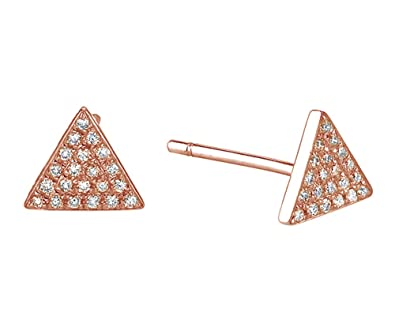 9e2b7c32 Amazon.com: Round Cut White Cubic Zirconia Pave Set Triangle Stud ...