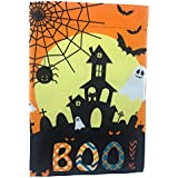 Lantern Hill Orange Halloween Garden Flag Haunted House, Ghosts, Bats a Full Moon; True Double Sided Boo Message readable Both Sides; 12 inches 18 inches