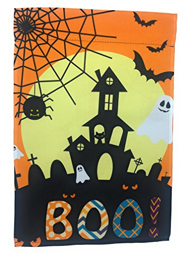 Lantern Hill Orange Halloween Garden Flag with Haunted House, Ghosts, Bats, and a Full Moon; True Double Sided Boo Message readable Both Sides; 12 inches by 18 -