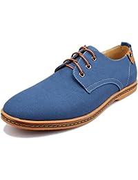 Kunsto Men's Canvas Oxford Shoes Lace up