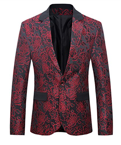 MOGU Mens 1 Button Floral Cotton Blazer Sport Coat Jacket US Size 42 Red