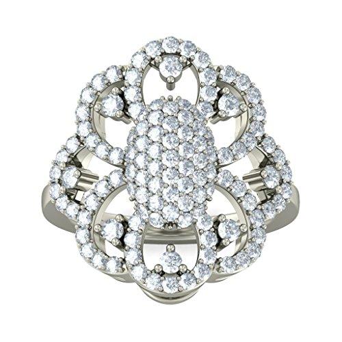 Or blanc 18K, 1.3carat Diamant Taille ronde (IJ   SI) Cocktail en diamant