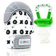 Teething Mitten for Babies with Fruit Feeder Pacifier - Baby Teething Toys for Self Soothing Gum Pain Relief. Infant Chew Glove Teether Mittens with Hygienic Travel Bag - Mitts for Boy or Girl (Grey)