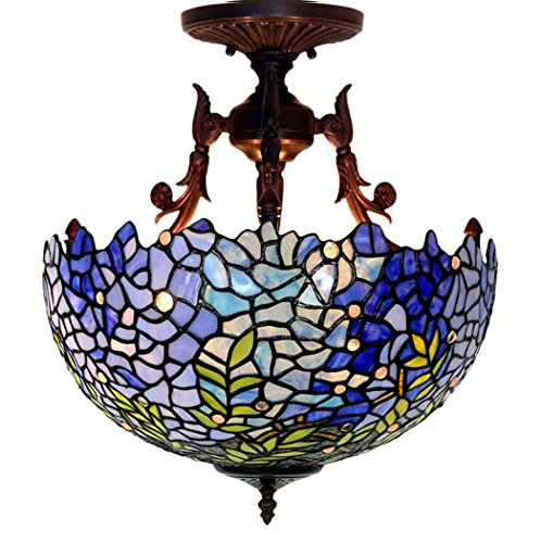 - Tiffany Style Ceiling Lamp, 16 Inch Wisteria Design Stained Glass Ceiling Lights, Bedroom Dining Room Studyroom Art Pendant Lamp