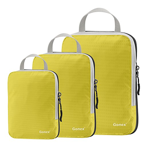 Set of 3 Gonex Packing Cubes, Clothing Compression Cube Extensible Storage Bags Organizers(Yellow)