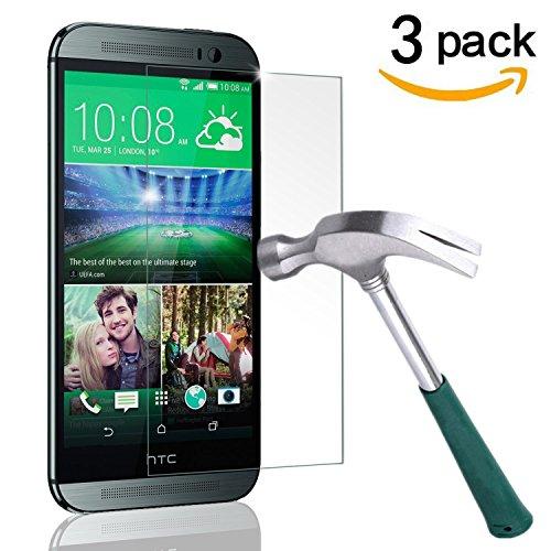 HTC One M8 Screen Protector, TANTEK [Bubble-Free][HD-Clear][Anti-Scratch][Anti-Glare][Anti-Fingerprint]Tempered Glass Screen Protector for HTC One M8 / HTC M8 [2014],[Lifetime Warranty]-[3Pack]
