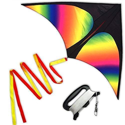 theColorfulLife Huge Rainbow Delta Kites for Kids and Adults-60 Wide with 3m Long Tail- Easy Flyer - Kit Line and Swivel Included- Good for Outdoor Games and Summer The Beach Toys for Kids