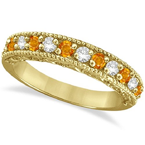 0.60ct Womens Unique Orange Citrine and Round Diamond Filigree Design Ring Band 14k Yellow Gold