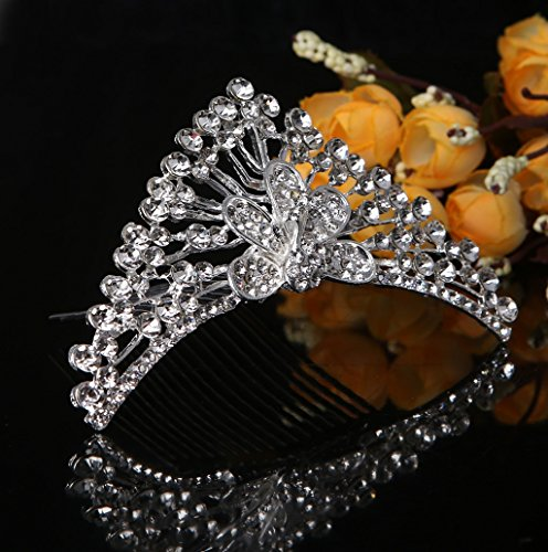 Dairyshop Bridal Tiara Strass pavone del pettine dei capelli della clip copricapo da sposa corona Diamante Corona