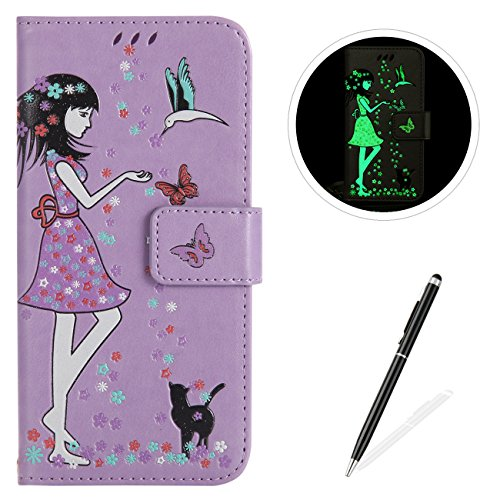 Firefly Cable Protector - MAGQI Huawei P10 Lite Case Luminous PU Leather Cases, Bookstyle Flip Wallet Cover Free Stylus Card Holder Girl Flower Butterfly Pattern Full Body Protective Shell - Purple