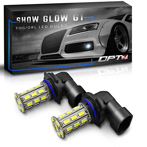 OPT7 Show Glow G1 H10 (9040 9140 9145) LED Fog Light Bulbs - 6000K Cool White @ 225 LMS per Bulb - All Bulb Sizes and Colors - 1 Year Warranty (Pack of 2)