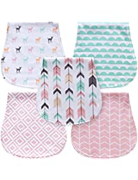 5-Pack Baby Burp Cloths for Girls, Triple Layer, 100%...