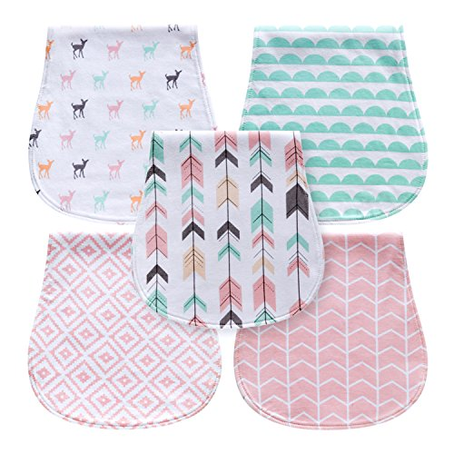 5-Pack Baby Burp Cloths for Girls, Triple Layer, 100% Organic Cotton, Soft and Absorbent Towels, Burping Rags for Newborns Baby Shower Gift Set by MiiYoung (Woodland) ()