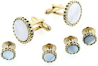 product image for JJ Weston Mother of Pearl Tuxedo Cufflinks and Shirt Studs. Made in The USA