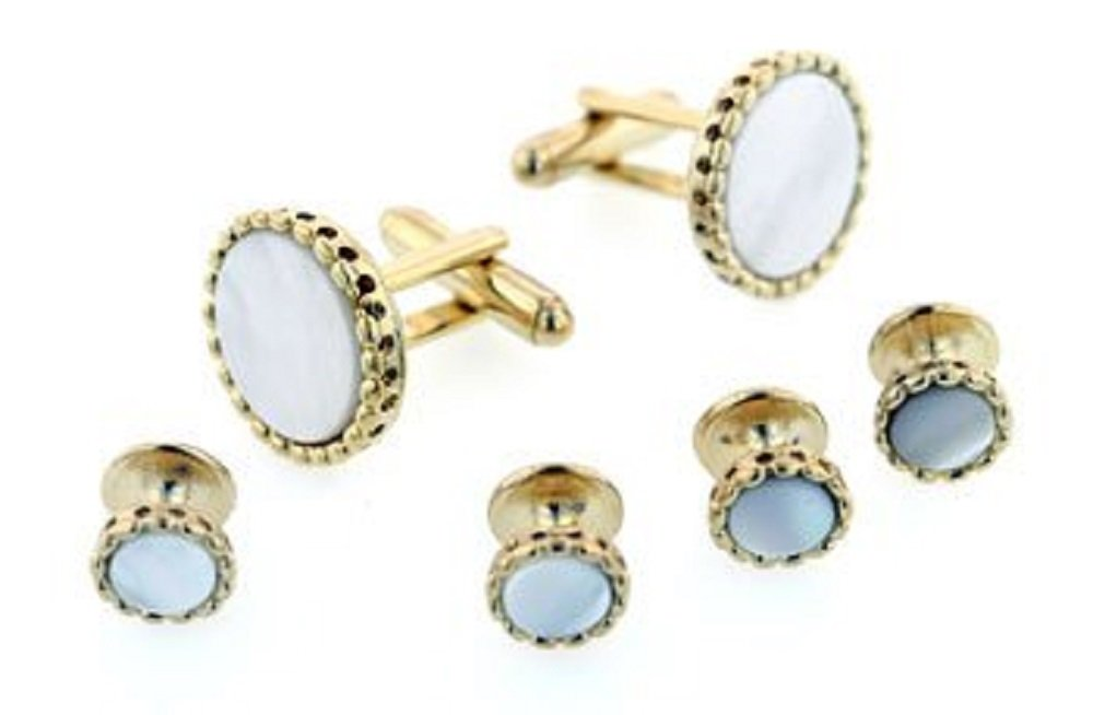 JJ Weston Mother of Pearl Tuxedo Cufflinks and Shirt Studs. Made in the USA