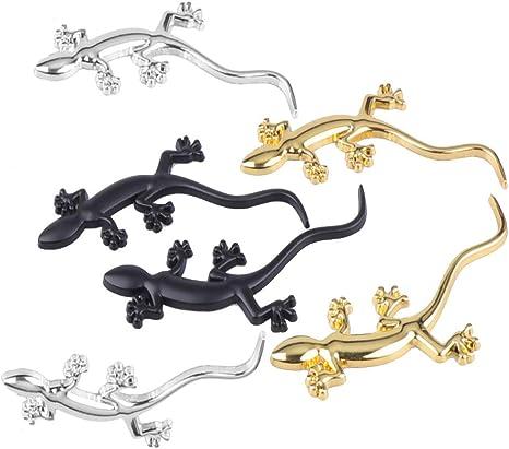 Vosarea 3 Stücke 3d Auto Aufkleber Gecko Form Solide Metall Chrom Abzeichen Emblem Aufkleber Für Auto Auto Fenster Tür Decor Zufällige Farbe Baumarkt