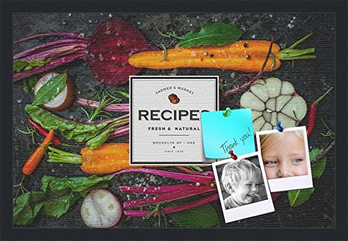 PinPix decorative pin cork bulletin board made from canvas, Recipe Board with Root Vegetables 24x16 Inches (Completed Size) and framed in Satin Black (PinPix-Group-36) by PinPix
