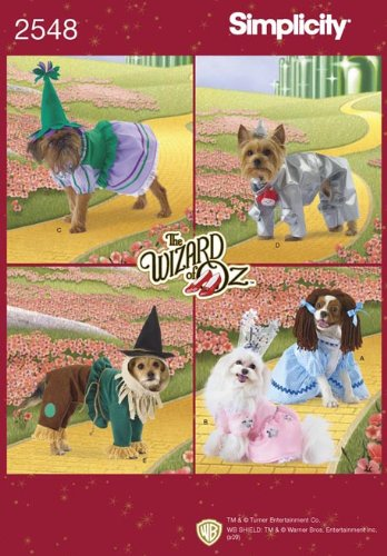 Simplicity Wizard Of Oz Costume Sewing Pattern 2548. Dog Sizes XS; S; M Tin Man; Scarecrow; Glenda Good Witch; Bad Witch; Dorothy Costumes -