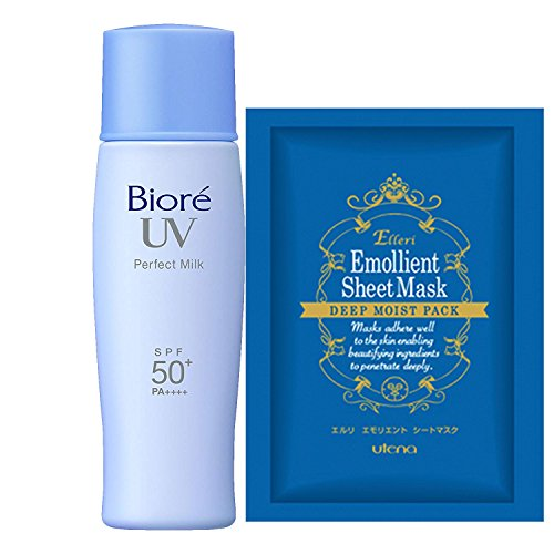 Biore UV Sarasara Perfect Milk 40ml & Facial Sheet Mask, SPF50+/PA++++, Waterproof