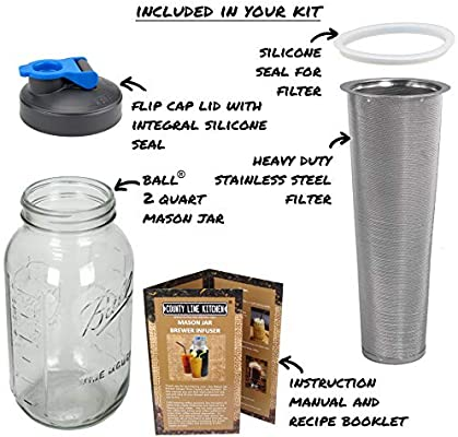 2 Quart Durable Glass Jar 64 oz Cold Brew Mason Jar Coffee Maker by County Line Kitchen Save $ Heavy Duty Stainless Steel Filter Flip Cap Lid For Easy Pouring Easily Make Your Own Cold Brew