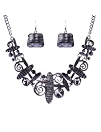Qiyun Unique Art Tribal Abstract Pattern Bib Choker Necklace Earrings Set Art Abstrait Mode le Collier