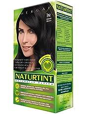 NaturTint Permanent Hair Colour - 1N Ebony Black, Ammonia Free, Vegan, Cruelty Free, up to 100% Gray Coverage, Long Lasting Results