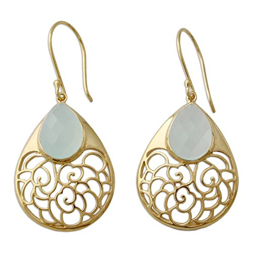 OVICA Chalcedony 22k Gold Vermeil .925 Sterling Silver Dangle Earrings 'Aqua Lace ()