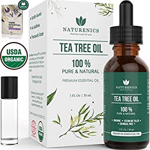 Naturenics Premium Organic Tea Tree Essential Oil - 100% Undiluted Pure USDA Certified Melaleuca Alternifolia Therapeutic Grade - For Toenail Fungus & Acne Treatment - Roll On & eBook