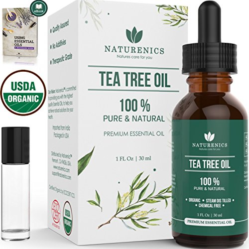 Naturenics Premium Organic Tea Tree Essential Oil - 100% Undiluted Pure USDA Certified Melaleuca Alternifolia Therapeutic Grade - For Toenail Fungus & Acne Treatment - Roll On & eBook (Best Prescription For Genital Warts)