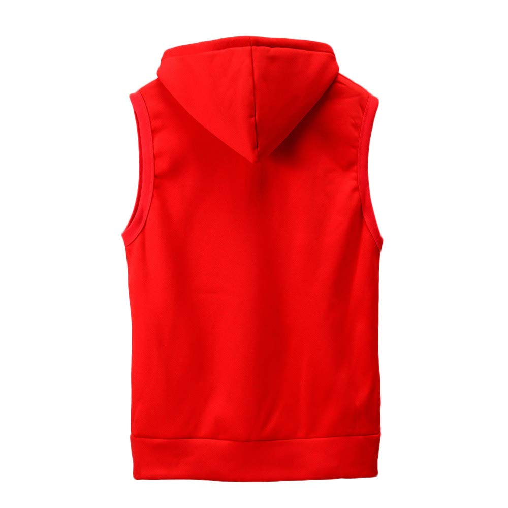 WUAI Clearance Men's Hoodie Jackets Sleeveless Slim Fit Waistcoat Solid Color Athletic Sports Tops(Red,US Size M = Tag L) by WUAI (Image #2)