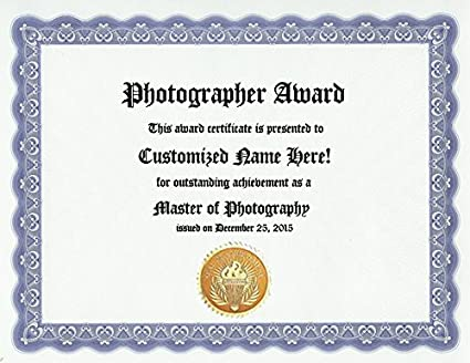 Amazon.com : Photographer Photography Award: Personalized Custom ...