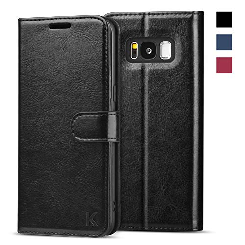 (KILINO Galaxy S8 Wallet Case [Shock-Absorbent Bumper] [Card Slots] [Kickstand] [RFID Blocking] Leather Flip Case Compatible with Samsung Galaxy S8 - Black)