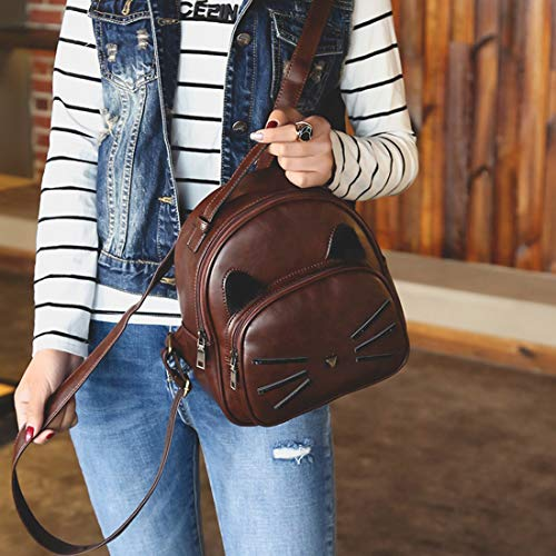 Kervinfendriyun Lady Cute Bag Coffee Small Impermeabile Yy4 Backpack chiaro Marrone Student Pu Color colore Mini Retro r6r8znpY