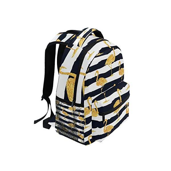 DXG1 - Zaino a righe color oro con fenicottero, da donna, per ragazzo, per scuola, scuola, viaggi, università, grande… 2 spesavip