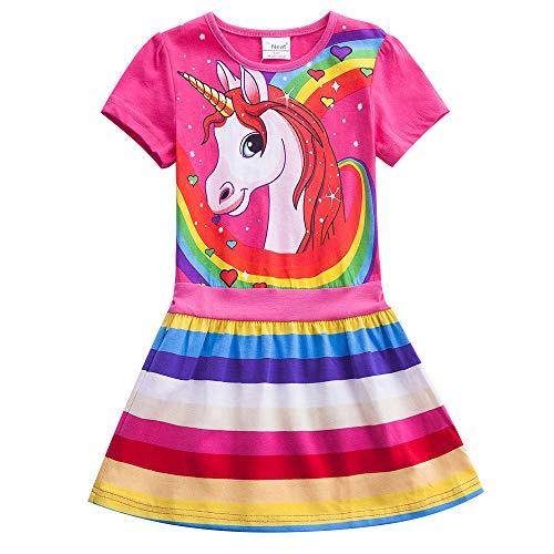 JUXINSU Toddler Cotton Girl Summer Short Sleeve Dress Rainbow Pony Cartoon for Girls 3-7 Years (SH6219-Fuchsia, 6T(6/7Y))