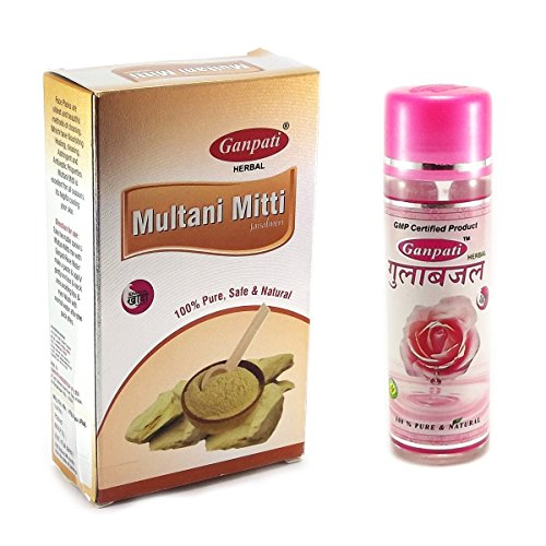 Ganpati-Herbal-Multani-Mitti-Jaisalmeri-200-Gms-With-Rose-Water-100-Ml