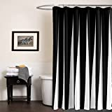 black and white bathroom decor KindoBest Black and White Piano Keyboard Pattern Shower Curtains for Bathroom Waterproof/Easy Care Polyester Fabric Stall Curtain Extra Long Size (71×79 Inch)
